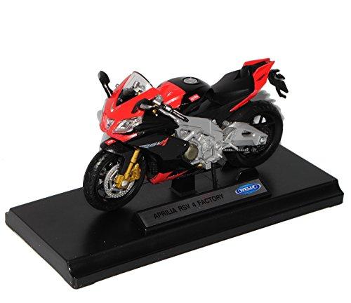Aprilia RSV 4 Factory Schwarz Rot 1/18 Welly Modell Motorrad mit individiuellem Wunschkennzeichen