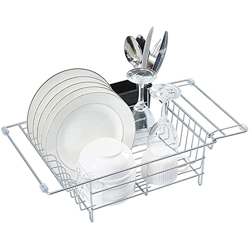 Dish Drying Rack Expandable Dish Rack Drying Rack Kitchen Dish Drainer with Removable Utensil Holder Dish Racks for Kitchen Counter