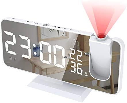 Alarm Clock for Bedroom Radio Digital Alarm Clock with USB Charger 7 4 Large Mirror LED Display product image