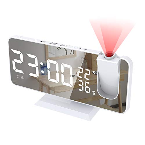 Alarm Clock for Bedroom, Radio Digital Alarm Clock with USB Charger, 7.4' Large Mirror LED Display Projection Alarm Clock, Auto Dimmer Mode, Easy Snooze, Dual Loud Smart Alarm Clock for Heavy Sleepers
