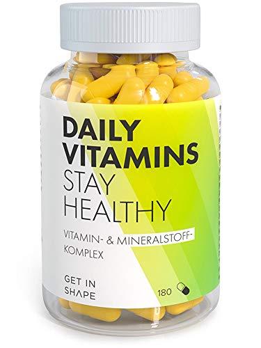 Daily Vitamins - Hochdosierte Vegane Multivitamin Kapseln mit allen wichtigen Vitaminen und Mineralien, 180 Kapseln hergestellt in Deutschland, von Get in Shape