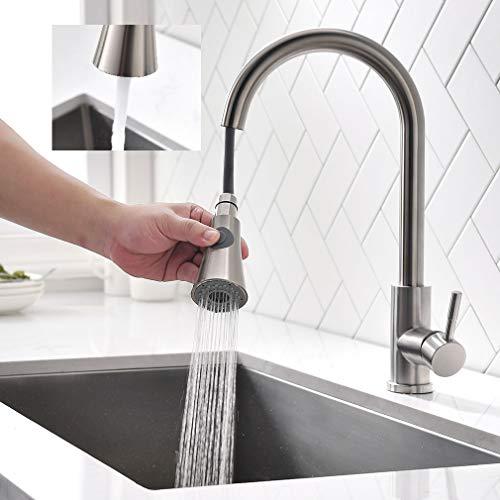 ubeegol 360° drehbar Küchenarmatur mit 2 Strahlarten Brause Ausziehbar Wasserhahn Küche Armatur Edelstahl Mischbatterie Spültischarmatur Einhebelmischer