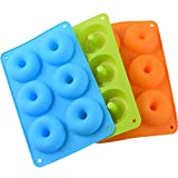 3 Pack Moldes de Donut de Silicona con 6 Cavidad - Forma de Ronda Donut Molde de Silicone Antiadherente para Pasteles, Galletas, Bagels, Magdalenas - Azul, Verde, Naranja