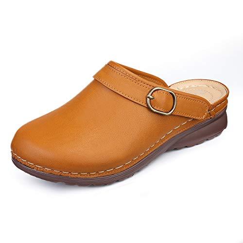 gracosy Clogs Damen Sanft Urban Open Clogs Hausschuhe Flach Sommer Sandalen Bequeme Walking Schuhe Specialist Clogs Pantoletten Gelb 40 EU