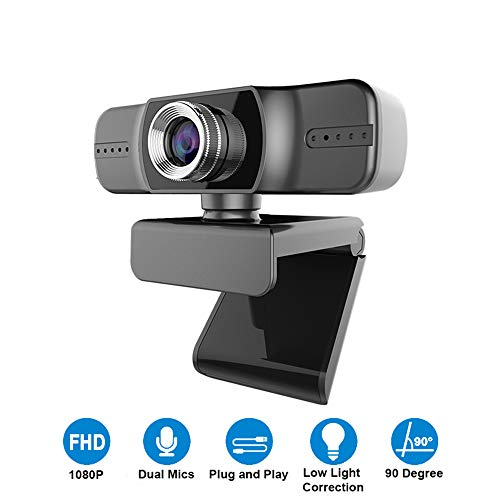 Webcam 1080P, Yieye Breedbeeld Digitale Web Camera met Microfoon voor Video Conferentie, Opnemen en Streaming, 90 Graden Uitgebreid Beeld,Live Stream Camera voor PC,Laptop en Desktop