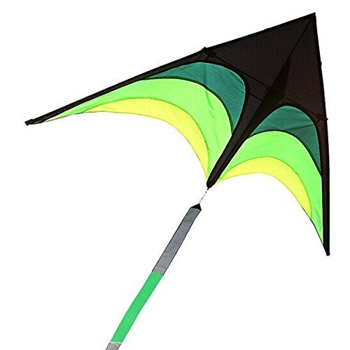 Oksea Lenkdrachen Drachen für Kinder 1 30 Meter Line Board Dreieck Drachen Lenkdrachen Grün Schwarz Drachen (Grün)