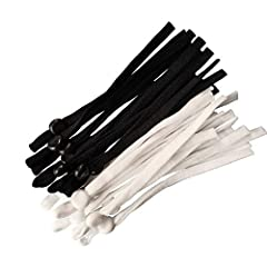 There are 40 pieces of elastic buckles band in white and black. There are 20 pieces in each color. 1/4 inch width and 4 inches length after folding. The elastic cord is durable and breathable, ensuring breathable while maintaining durability. This ea...