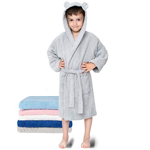 Kinderbademantel, Mädchen, Junge - Größe 86-92 (1-2 Jahre), Grau - Ohne Chemikalien (Oeko TEX), 100% Baumwolle - Morgenmantel, Bademantel kuschelig 2 Taschen, Gürtel, Kapuze mit Ohren