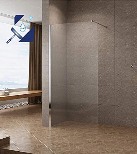 AQUABATOS® 100x200cm Walk In Dusche 10mm Duschwand Glas Duschabtrennung Duschtrennwand Glastrennwand Glaswand mit NANO Beschichtung