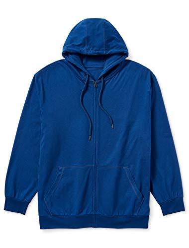 Amazon Essentials Men's Big & Tall Lightweight Jersey Full-Zip Hoodie fit by DXL Sweater, -Blue, 4X