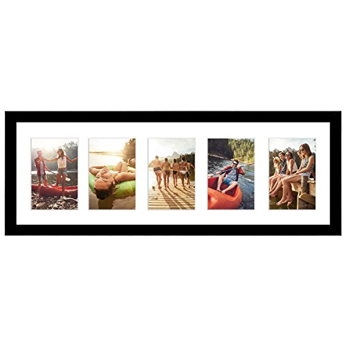Americanflat 8x24 Collage Picture Frame with Five 4x6 Displays in Black - Composite Wood with Shatter Resistant Glass - Horizontal and Vertical Formats for Wall