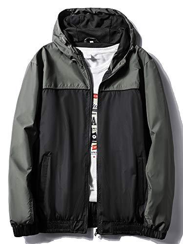 MADHERO Mens Windbreaker Jacket Lightweight 90s Retro Wind Breakers Military Black Size XL