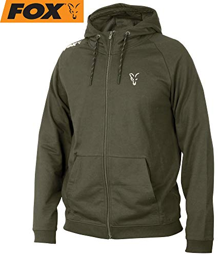 Fox Collection Green/Silver LW Hoodie - Pullover für Karpfenangler & Wallerangler, Kapuzenpullover, Hoody, Kapuzenpulli, Größe:S