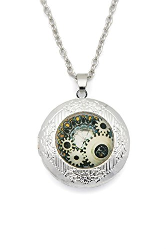Remi Bijou - Halskette mit rundem Anhänger 'Uhr Skelet' Kaleidoscope Mandala Buddha Yoga Geometrisch, ColorName:Silber