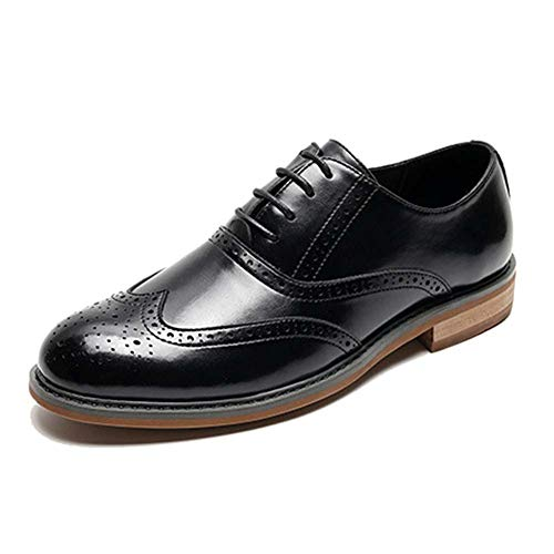 Premium Leather Lining Men's Dress Shoes Classic Lace Up Oxford Formal Shoes Retro British Style Best Gifts,Black,40
