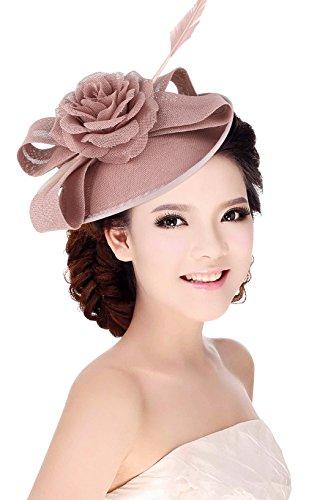 La Vogue Femme Chapeau Cérémonie Barrette Voilette Mariage Cheveux Mariées Fête Rose
