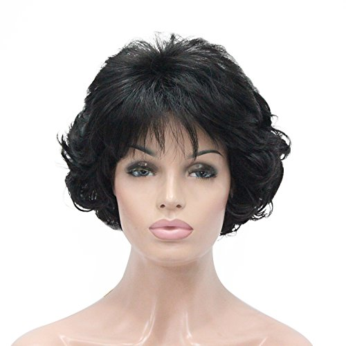 Kalyss Short Black Curly Wavy Synthetic Hair Wigs With Hair Bangs for Women 70' Look Lightweight Premium Hair Wigs