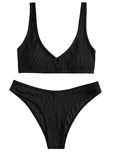 ZAFUL Damen Gepolsterte Bikini Set, Texturiert V-Ausschnitt High Cut Bikini Badeanzug Sommer (Schwarz,L)