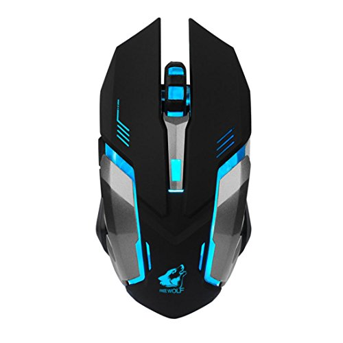 YJM Rechargeable X7 Wireless Mouse,Optical Mobile Wireless ilent LED Backlit USB Optical Ergonomic Gaming Mouse