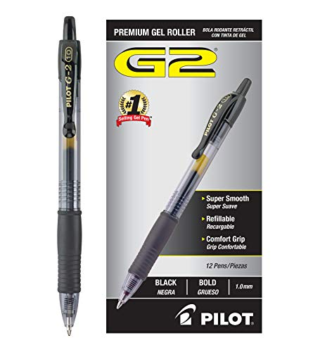 PILOT G2 Premium Refillable & Retractable Rolling Ball Gel Pens, Bold Point, Black Ink, 12 Count...