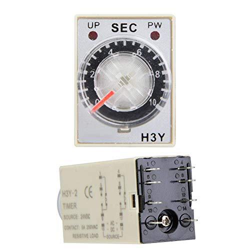 Temporizador de retardo H3Y-2 con relé de tiempo de marcación transparente 24V DC Interruptor de control de tiempo preciso 0-60S 8Pins(10S)