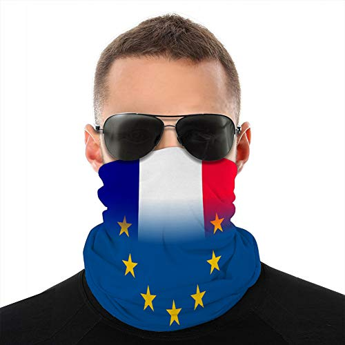 Holefg3b Couvre-Cou en Microfibre pour Drapeau National de France Unisexe avec Un Cercle d'étoile de Cagoule Tube EU