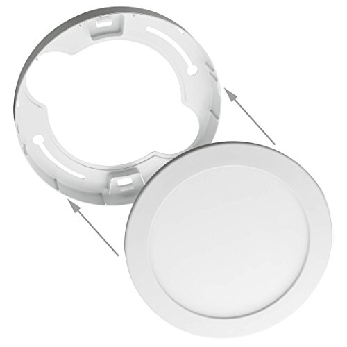 SEBSON® Marco panel LED, redondo Ø170x32mm, plástico, color blanco, Marco montado en...