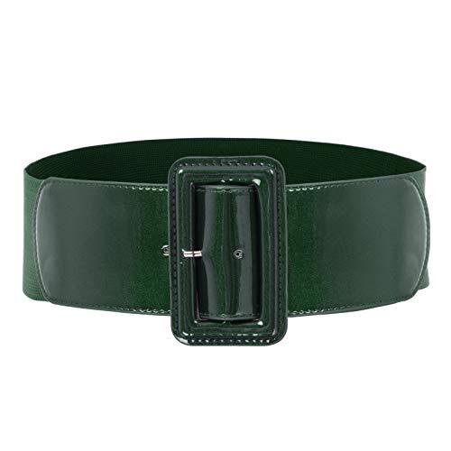Womens Classic Chunky Buckle Stretchy Waist Cinch Belt Size 2XL Deep Green