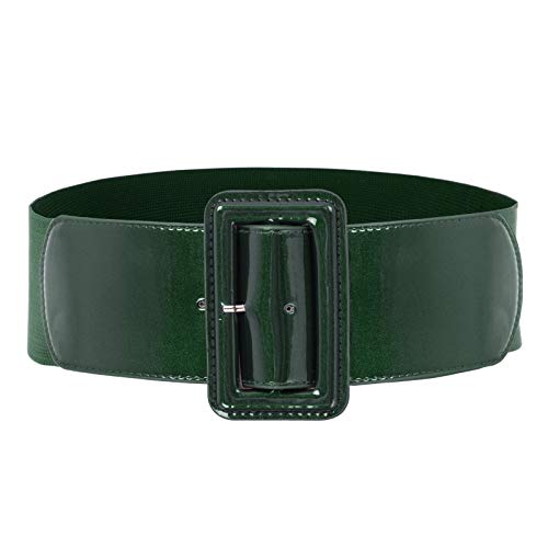 Womens Classic Chunky Buckle Stretchy Waist Cinch Belt Size 2XL Deep Green