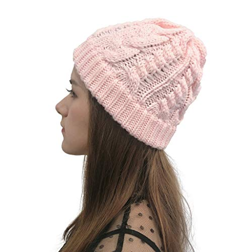 YXIU Damen Winter Warme Mütze Gestrickte Beanie Mütze, Outdoor Plüsch Hüte Häkeln Strickmütze Cap (Pink)