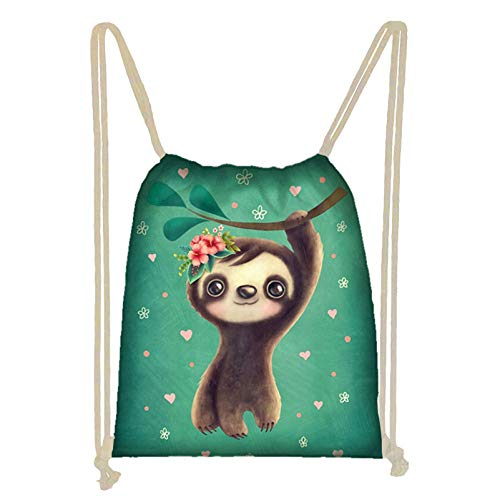 ZFRXIGN Baby Sloth Gifts Drawstring Bag Gymbag Sackpack Sports Backpack for Women Girls Travel Storage Bags Cinch Daypack Parity Favor Lightweight Green