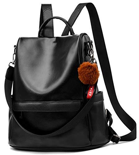 Damen Soft PU Leder Rucksack Handtasche Schultertasche All in One Multifunktions Anti Diebstahl Tasche Wasserdichte Rucksack (schwarz)