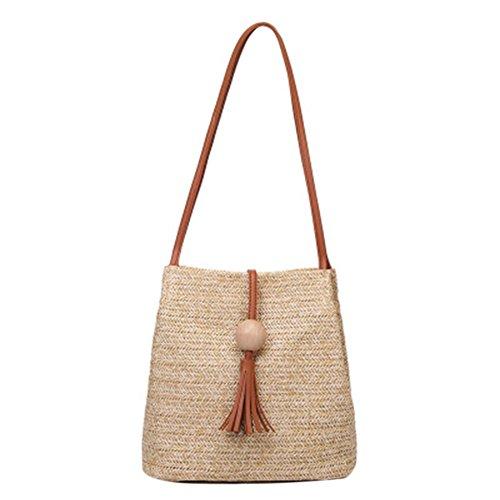 Borsa di paglia secchio, borsa a tracolla, estate nuova palla di legno nappa Messenger Bag, Marrone