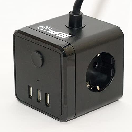 SPO Cubo Regleta con USB y 3 enchufes - Ladron Power Cube Multiple - Interruptor para Enchufe con USB Que Corta Todas Las Tomas Multiples - Color Negro