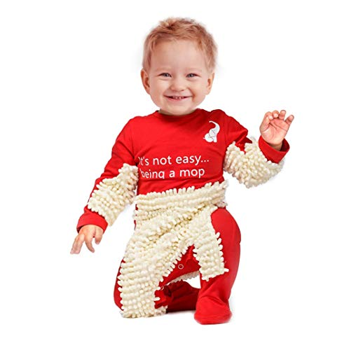 Cute Baby Mop Onesie - Funny and Functional, Perfect as a Long Sleeve Romper for Your Crawling Baby and for Use as an Everyday Baby Jumpsuit. Great as (Red, 6-9 Months)