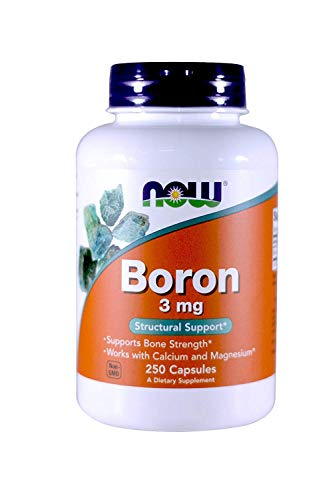 NOW Foods Boron, 3 mg, 250 Capsules (Pack of 2)