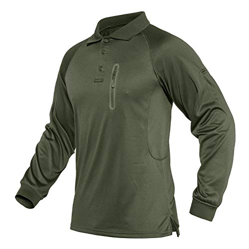 CRYSULLY Men Basic Style Button Up T-Shirts Casual Pure Color Turn-Down Collar Polo Shirt Army Green