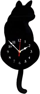 Perfk Silence 3D Wagging Cat Tail Wall Clock for Bedroom - Black Cat, as described
