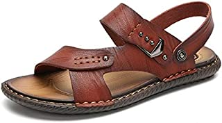 Men Sandals Summer Flip Flops Man Shoes Leather Slippers Outdoor Beach Casual Male Water Shoes (Color : Brown, Shoe Size : 41)