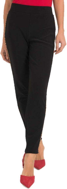 Joseph Ribkoff Black with Accent Leopard Print Stripe Pants Style  193113 Fall 2019