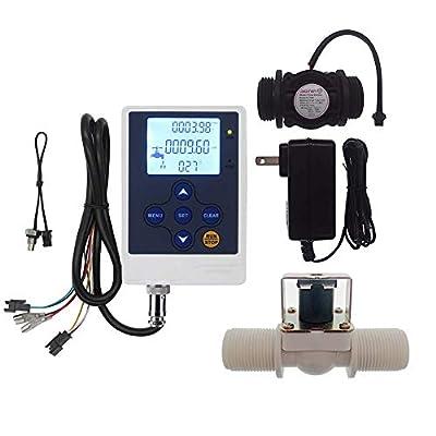 "DIGITEN Water Flow Control Meter LCD Display Controller+G1"" Water Flow Hall Effect Sensor Flow Meter 1-60L/min+G1"" Solenoid Valve Normally Closed N/C+DC 12V Power Adapter by DIGITEN"