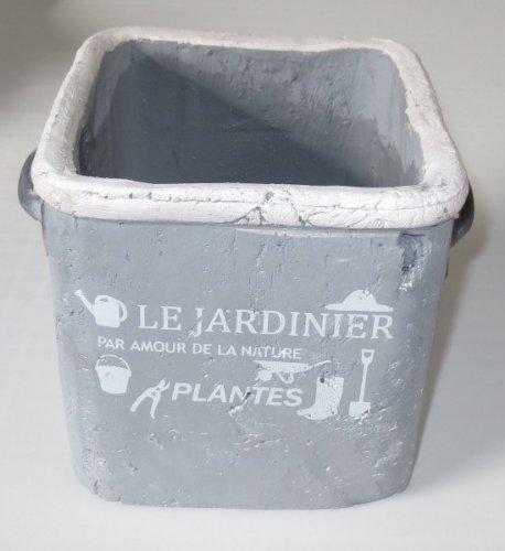 Unbekannt Pflanztopf Tontopf Metallgriffe und Aufdruck \'Le Jardinier. Plantes\' hellgrau