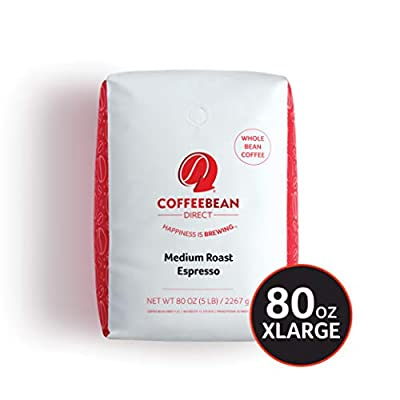 Coffee Bean Direct Espresso Whole Bean Coffee, 5 Pound from Coffee Bean Direct