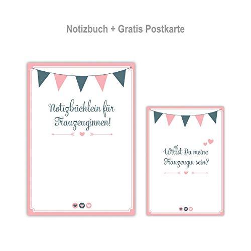 Ja-Hochzeitsshop Trauzeugin Planer (Planungsbuch mit 28 Seiten) + GRATIS Postkarte. Hochwertige Qualität + made in DE