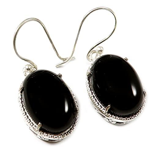Goyal Crafts Negro Onyx plateado plata Natural piedra pendiente joyería GGTER16E