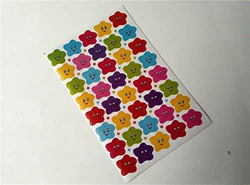 BLOUR 10 Stück Lächeln Gesicht Nummer rote Fahne Sterne Kindergarten Kinder Kinder Sammelalbum Papier Schule Belohnungen Aufkleber für Lehrer