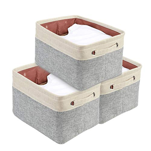 DECOMOMO Extra Large Foldable Storage Bin 3-Pack Collapsible Sturdy Cationic Fabric Storage Basket Cube WHandles for Organizing Shelf Nursery Home Closet Office - Grey Beige 158 x 125 x 10