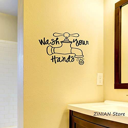 Handen wassen (met zeep) badkamer muur vinyl sticker waterdicht muur sticker kraan kunst sticker muurschildering huisdecoratie <> 58x88cm