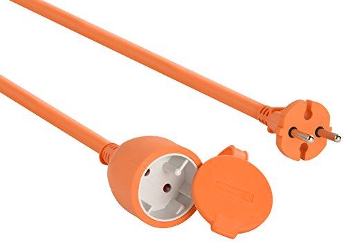 Electraline 20857039F - Cable alargador eléctrico para jardín (50 m) color naranja