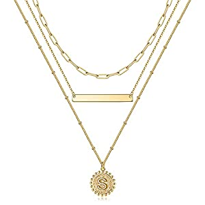 M MOOHAM Layered Initial Necklaces for Women, 14K Gold Plated Layering Gold Necklaces for Women Dainty Coin Letter Pendant Paperclip Link Chain Choker Necklaces Gold Initial Necklaces for Women gold